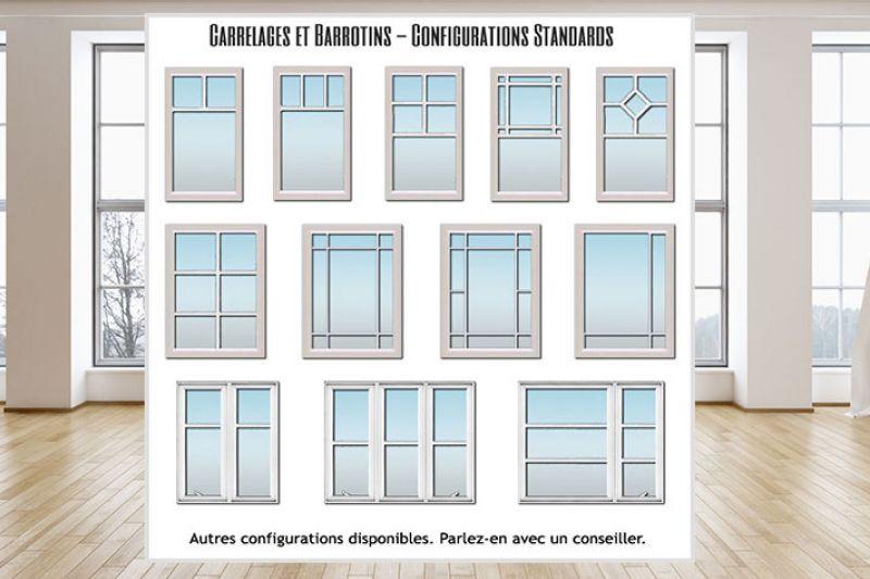 CONFIGURATIONS DE CARRELAGES ET BARROTINS STANDARDS